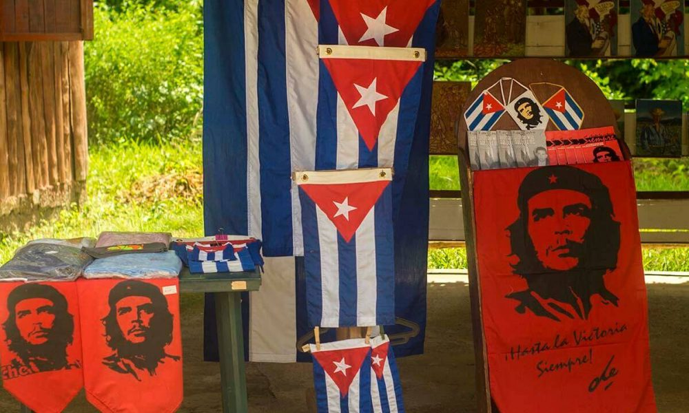 Cuba sites of interest Santa Clara Che flags big