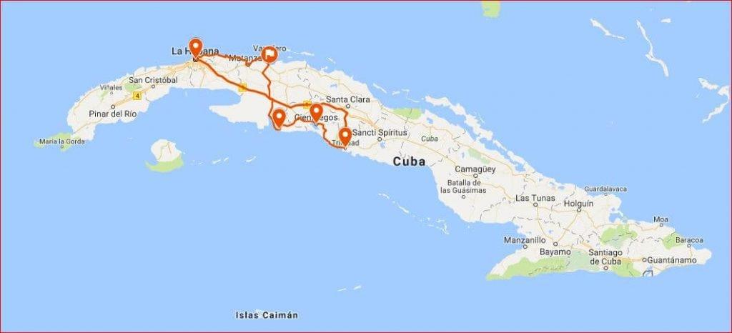 Cuba Viajes circuitos mapa de La Habana y centro
