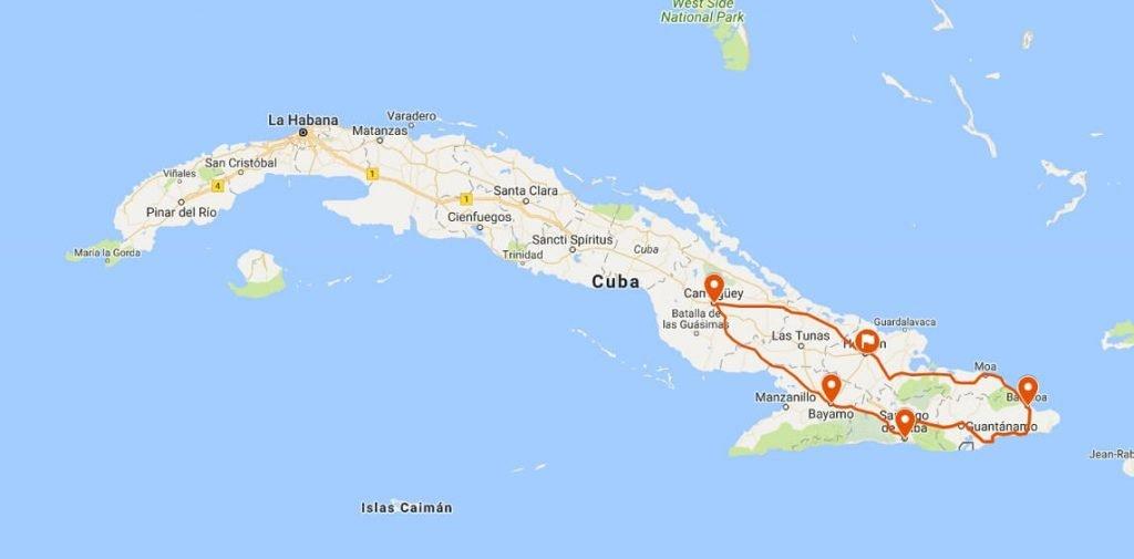 Cuba rondreis Het andere deel van Cuba kaart