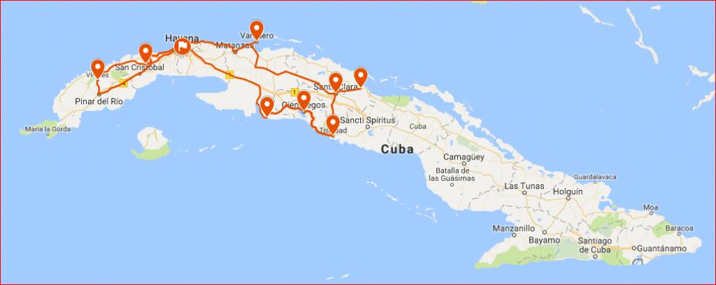 Cuba rondreis Cuba met kinderen kaart