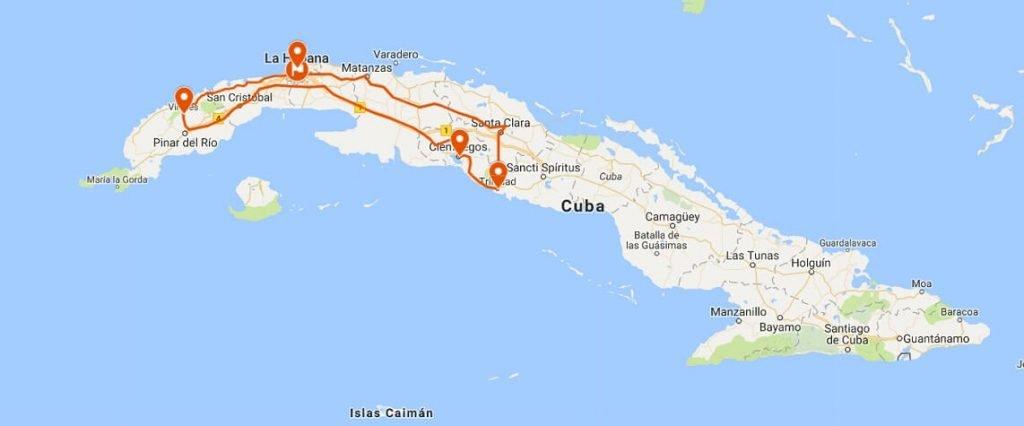 Circuito de salsa en Cuba mapa